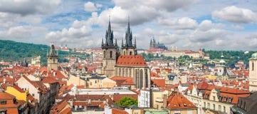 布拉格老镇空中全景  图库摄影