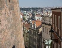 布拉格老镇鸟瞰图从城堡边的 免版税库存图片