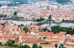 布拉格老镇鸟瞰图  免版税库存图片