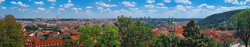 布拉格老镇,捷克全景  免版税库存照片