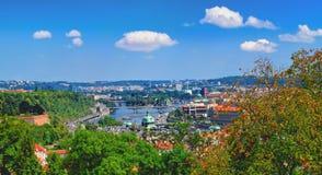 布拉格老镇,捷克全景  库存照片