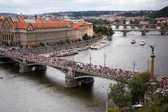 布拉格自豪感的参加者过桥梁 库存图片