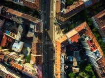 布拉格街道顶面下来视图  库存照片