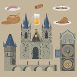 布拉格镇,捷克 上帝,老镇中心的母亲教会在Tyn前的在欧洲城市 著名,游客旅行, popula 免版税库存照片