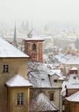 布拉格顶视图冬天 免版税库存图片