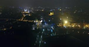 布拉格,从空气的全景到老镇和查理大桥,夜城市的光夜全景  股票录像