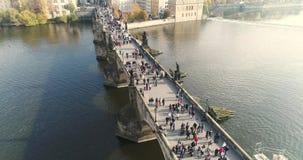 布拉格,在城市的飞行,顶视图,查理大桥,伏尔塔瓦河河顶视图  股票录像