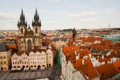 布拉格,捷克共和国鸟瞰图  免版税库存图片