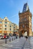 布拉格,捷克共和国2015年9月13日:粉末塔或Powde 免版税库存图片