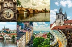 布拉格,捷克旅行照片拼贴画 库存照片