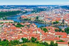 布拉格,捷克空中全景  免版税库存图片