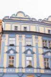 布拉格,捷克,老镇在一个减速火箭的样式冬天,冷定调子 上色欧洲的图象有空间的文本的 图库摄影