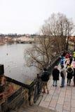 布拉格,捷克,2015年1月 伏尔塔瓦河河看看的堤防的众多的游人在水的鸟 免版税库存照片