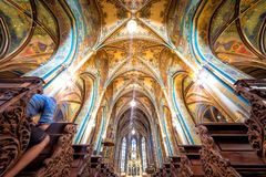 布拉格,捷克- 2017年5月19日:圣皮特圣徒・彼得和P教会  库存照片