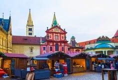 布拉格,捷克- 2017年12月31日:布拉格,捷克:圣乔治` s大教堂,最初被奉献  免版税库存图片