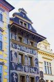 布拉格,捷克- 2017年12月31日:美丽的议院的详细的看法分钟的,位于在老附近 库存照片