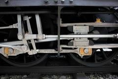 布拉格,捷克- 2017年9月23日:蒸汽机车在全国技术博物馆在布拉格,捷克 轮子关闭 免版税库存照片