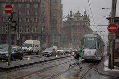 布拉格,捷克- 2013年2月18日:Namesti Miru 库存照片