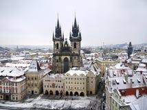 布拉格,捷克- 1月, 15 :在老镇或Staromestska广场的看法在布拉格 库存图片