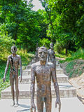布拉格,捷克- 2010年6月26日, :对共产主义的受害者的纪念碑 数字雕象在记忆里共产主义者 库存照片