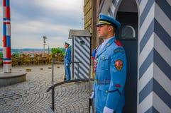 布拉格,捷克- 2015年8月13日, :当班的宫殿护卫穿他们的特别蓝色制服,白色镶边 免版税库存照片