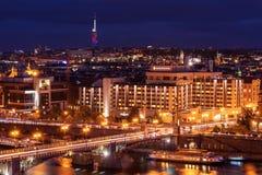 布拉格,捷克- 2016年11月02日:布拉格夜都市风景  免版税库存照片