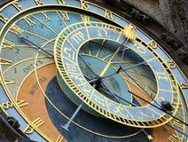 布拉格,捷克- 2017年7月16日:布拉格编钟  老天文学时钟在布拉格,老镇中心,捷克 免版税库存图片