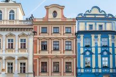 布拉格,捷克- 2016年3月14日:布拉格建筑学,捷克语 老方形城镇 库存照片