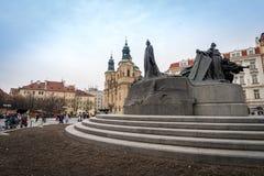 布拉格,捷克- 2016年3月5日:扬・胡斯, O雕象  库存图片