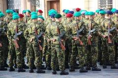 布拉格,捷克- 2015年10月26日:捷克军队力量,在总统府的誓言 捷克, 2015年10月26日 免版税库存照片