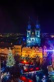 布拉格,捷克- 2015年12月22日:老镇中心在布拉格,捷克共和国 免版税库存照片