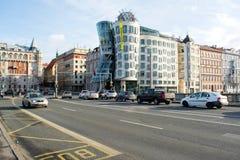布拉格,捷克- 2015年1月04日:跳舞议院在布拉格, Chech共和国 免版税库存照片