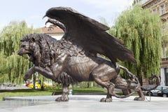 布拉格,捷克- 2015年9月02日:飞过的狮子照片  免版税库存照片