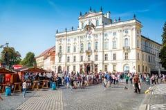 布拉格,捷克- 2016年9月07日:Hradcany广场和 免版税图库摄影