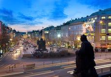 布拉格,捷克- 2014年10月25日:St Wensceslas雕象, Ne 库存照片