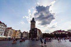 布拉格,捷克- 7月18 :对老镇城市Hal的看法 免版税库存照片