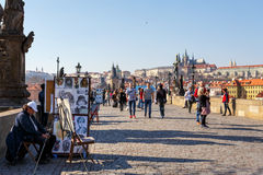 布拉格,捷克- 3月13 :查理大桥 免版税库存照片