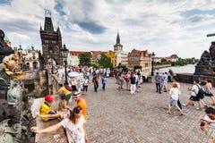 布拉格,捷克- 7月18 :看法向查理大桥 免版税库存图片