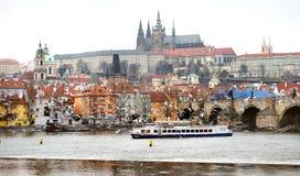 布拉格,捷克-飞行在伏尔塔瓦河河的观点的城堡和鸟 免版税库存图片