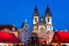 布拉格,捷克REPUBLIC-JAN 05日2013年:布拉格圣诞节市场 免版税库存图片
