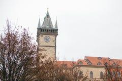 布拉格, 2016年12月13日:与红色瓦片的美丽的历史建筑在屋顶和钟楼在正方形 库存照片