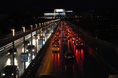 布拉格, Nuselsky桥梁在晚上 库存图片