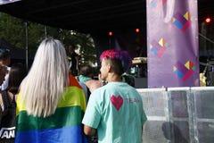 布拉格/捷克- 8月11 2018年:LGBT自豪感3月 免版税库存图片