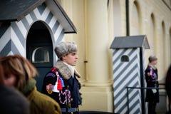 布拉格- 12月07 :与传统一致的外部的卫兵  库存图片