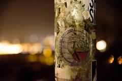 布拉格- 12月07 :与文本的贴纸 免版税库存照片