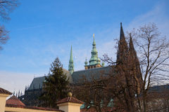 布拉格- 12月07 :圣徒Vitus大教堂机智的侧视图 库存照片