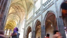 布拉格- 6月14 :时间间隔射击了在2017年6月14日的圣Vitus大教堂里面在布拉格 影视素材