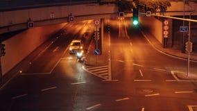 布拉格- 6月14 :时间间隔晚上2017年6月14日的城市交通在布拉格 股票视频