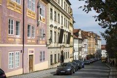 布拉格 街道在老城市铺了石块 图库摄影