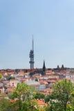布拉格从Vitkov小山的电视塔 免版税库存图片